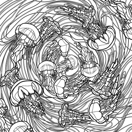 Swirl of jellyfish drawn in line art style. Ocean card in black and white colors. Coloring book page design