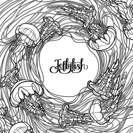 sea poison: Swirl of jellyfish drawn in line art style. Ocean card in black and white colors. Coloring book page design