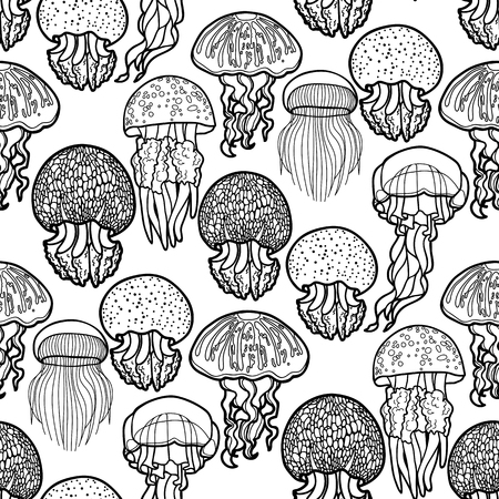 Jellyfish seamless pattern drawn in line art style. Vector ocean animals in black and white colors. Coloring book page design Illustration