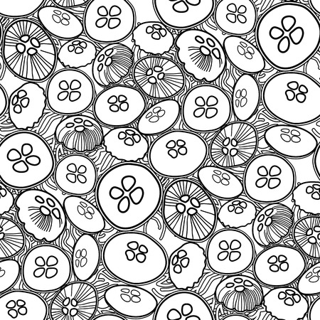 fauna: Vector jellyfish seamless pattern drawn in lineart style. Ocean fauna in black and white colors. Coloring book page design