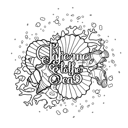 sea weeds: Lifebuoy with corals and ocean fish drawn in line art style.  Vector marine illustration isolated on white background. Coloring book page design