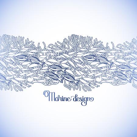 carte graphique ancienne avec les poissons de mer et de coraux. frontière maritime tracée dans le style d'art en ligne dans les couleurs bleu. conception Coloriage page du livre Vecteurs