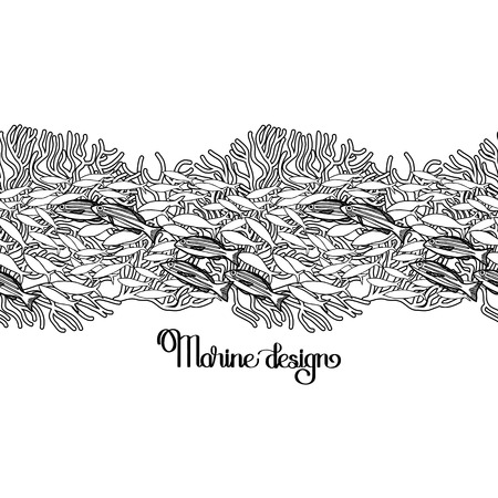 mackerel: Vintage graphic card with ocean fish and corals.  Marine border drawn in line art style on white background. Coloring book page design