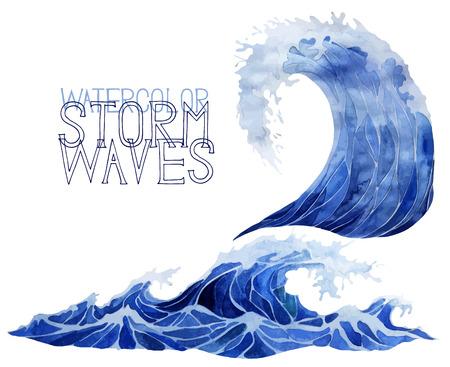 깊고 푸른 폭풍 파도 흰색 배경에 고립입니다. 수채화 벡터 바다와 바다 디자인. 쓰나미 예술. 일러스트