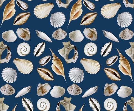 mollusk: Small watercolor seashells and corals. Seamless vector pattern. Sea and ocean design