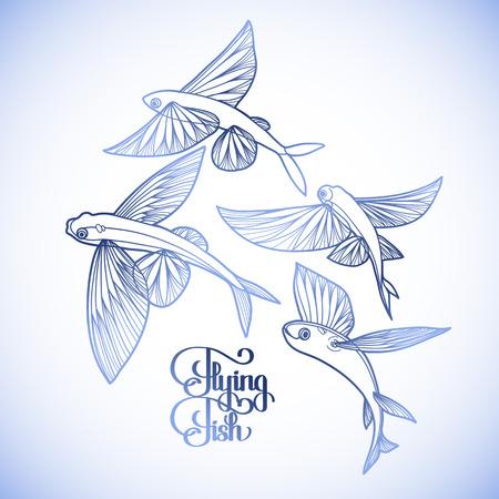 collection de poissons volants graphique dessiné dans le style d'art en ligne. Mer et océan créature isolé sur fond blanc. conception Coloriage page du livre Vecteurs