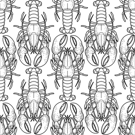 Graphic vector lobster seamless pattern drawn in line art style. Sea and ocean creature isolated on white background. Top view. Seafood element. Coloring book page design Ilustração