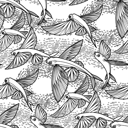 Graphic flying fish drawn in line art style. Sea and ocean seamless pattern. Coloring book page design