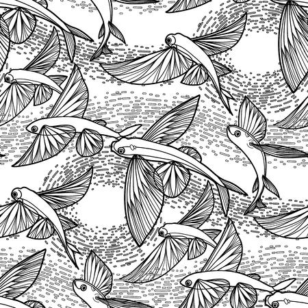 poissons volants graphique dessinée dans le style d'art en ligne. Mer et océan pattern. conception Coloriage page du livre