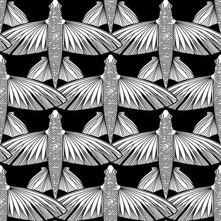 view on sea: Graphic flying fish drawn in line art style. Top view. Sea and ocean seamless pattern. Coloring book page design