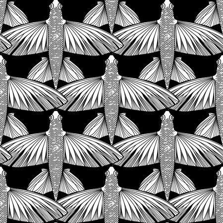 poissons volants graphique dessinée dans le style d'art en ligne. Vue de dessus. Mer et océan pattern. conception Coloriage page du livre