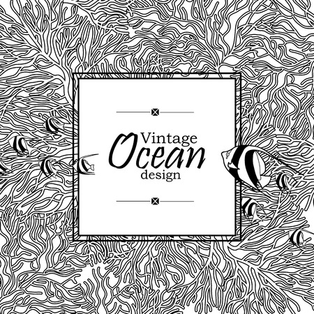 flora fauna: Vintage graphic card with ocean flora and fauna with square frame.  Fish, seashells, seaweed and corals drawn in line art style on white background. Coloring book page design
