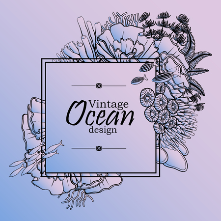 flora fauna: Vintage graphic card with ocean flora and fauna with square frame.  Fish, seashells, seaweed and corals drawn in line art style on quartz-serenity background. Coloring book page design
