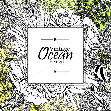 flora fauna: Vintage graphic card with ocean flora and fauna with square frame.  Fish, seashells, seaweed and corals drawn in line art style on yellow-green background. Coloring book page design