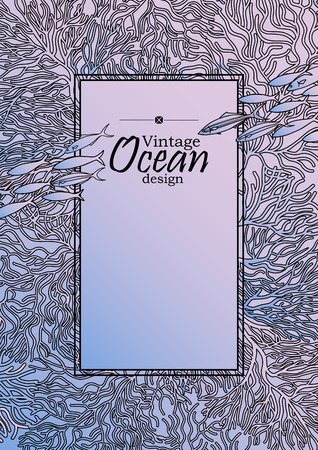 fauna: Vintage graphic card with ocean flora and fauna with square frame.  Fish, seashells, seaweed and corals drawn in line art style on quartz-serenity background. Coloring book page design