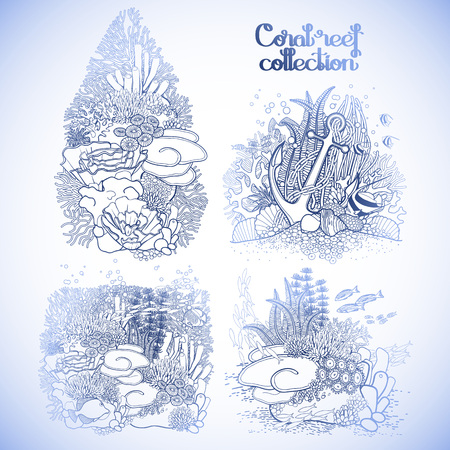 ocean plants: Coral reef design collection in line art style. Sea and ocean plants and rocks isolated on white. Coloring page design.
