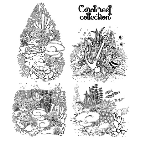 ocean plants: Coral reef  collection in line art style.  Sea and ocean plants and rocks isolated on white. Coloring page design. Illustration