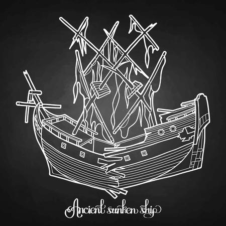 sunken: Ancient sunken ship. Graphic vector illustration isolated on chalkboard