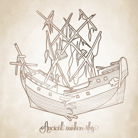 Ancient sunken ship. Graphic vector illustration isolated on old paper texture Illustration