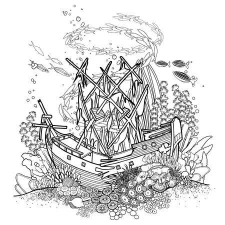 Ancient sunken ship and coral reef drawn in line art style. Ocean fish and plants  isolated on white background.