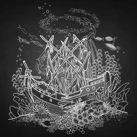 sunken: Ancient sunken ship and coral reef drawn in line art style. Ocean fish and plants  isolated on chalkboard. Illustration