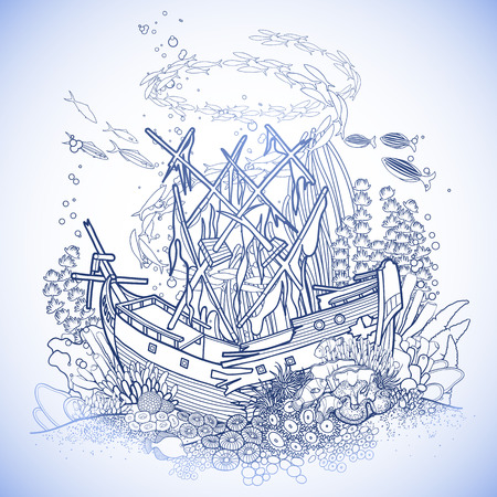 sunken: Ancient sunken ship and coral reef drawn in line art style. Ocean fish and plants in blue colors.
