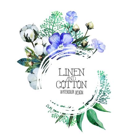 lino e cotone Acquerello. disegno vettoriale isolato su sfondo bianco Vettoriali