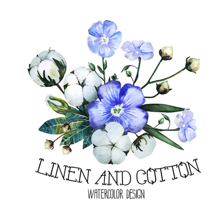 Watercolor linen and cotton. Vector design isolated on white background