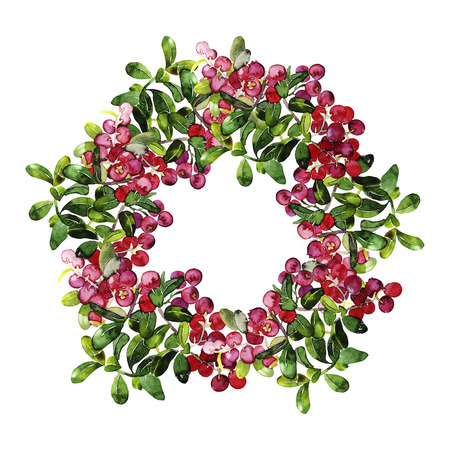 foxberry: Watercolor cranberry wreath. Christmas design isolated on white background Stock Photo