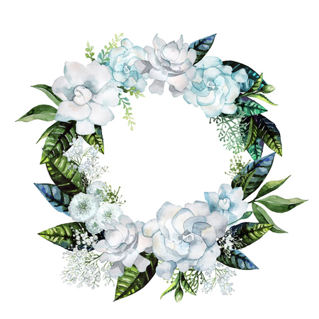 Watercolor gardenia and gypsophila wreath. Floral wedding design isolated on white background Stock Photo