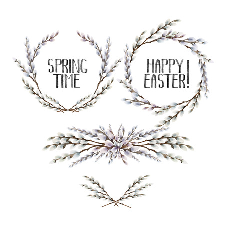 Collection of watercolor pussy-willow wreath and vignettes. Spring branches. Easter decorations. Vector design elements isolated on white background