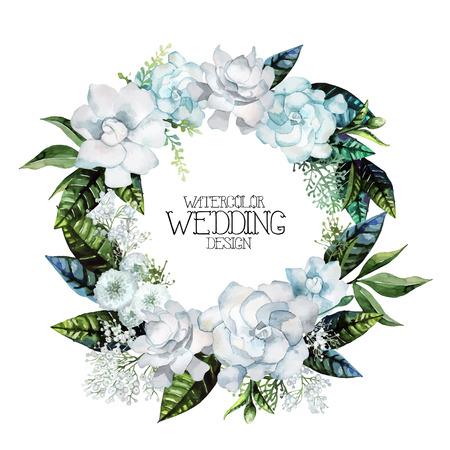 Aquarell Gardenie und gypsophila Kranz. Floral Vektor Hochzeit Design auf weißem Hintergrund Standard-Bild - 56287352