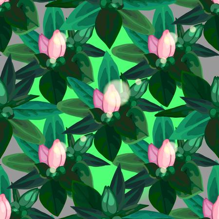 azalea: Gentle azalea vignettes. Vector floral seamless pattern Illustration