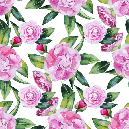Watercolor camellia naadloos patroon. Floral vector design