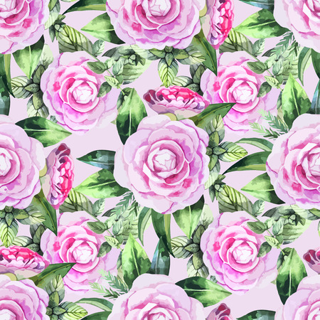 camellia: Watercolor camellia seamless pattern. Floral vector design Illustration
