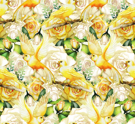 canaries: Watercolor yellow roses and canaries. Seamless floral pattern Stock Photo
