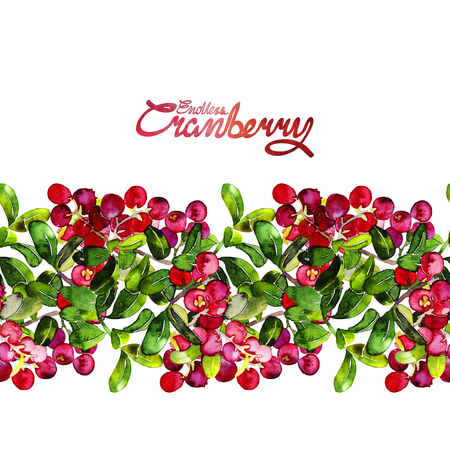 Watercolor cranberry. Endless border. Christmas floral design Banco de Imagens