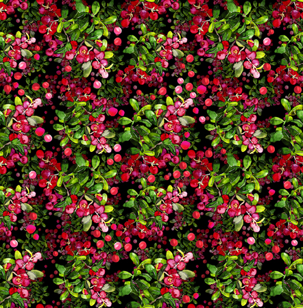 foxberry: Watercolor cranberry seamless pattern. Christmas floral design Stock Photo