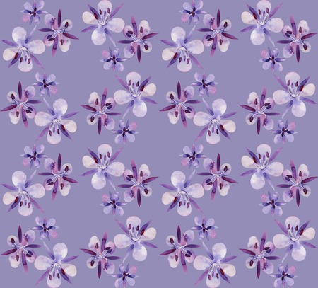 violet flowers: Watercolor willow-herb seamless pattern. Floral design. Small violet flowers Stock Photo
