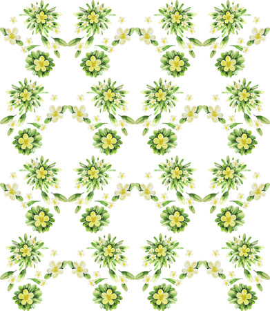 folliage: Watercolor tea flowers. Floral seamless pattern. Small yellow flowers with green folliage Stock Photo