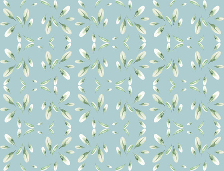 tea leaves: Watercolor small tea leaves. Floral seamless pattern. Natural design