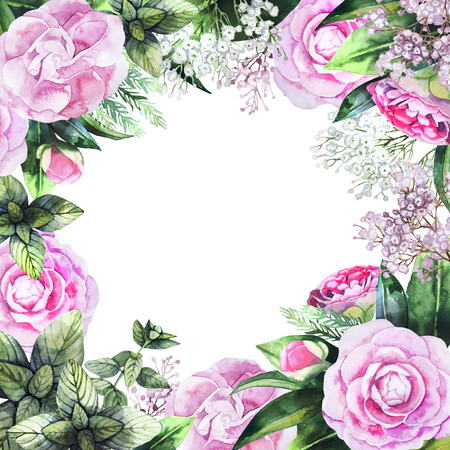 camellia: Watercolor camellia design. Romantic hand painted floral frame