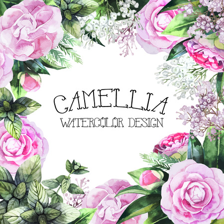 Watercolor camellia design. Romantic vector floral frame