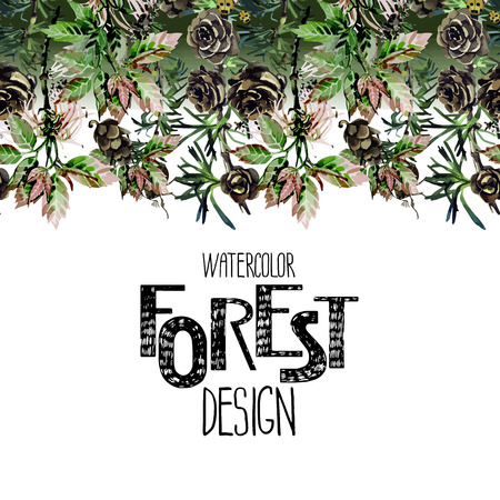 larch: Endless forest design. Insects among larch cones and foliage. Vector frame