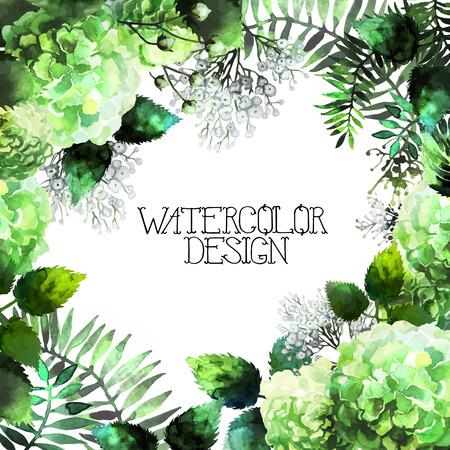 Green watercolor hydrangea design. Romantic vector floral frame Illustration