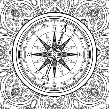 rosa vientos: Graphic wind rose compass drawn in line art style. Nautical vector illustration. Coloring book page design