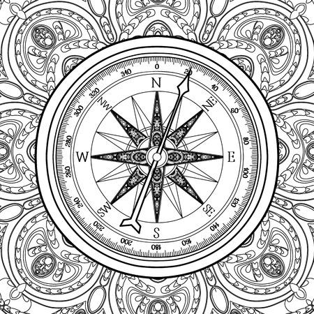 Vent graphique rose compass dessiné dans le style d'art en ligne. vecteur nautique illustration. conception Coloriage page du livre Banque d'images - 56287644