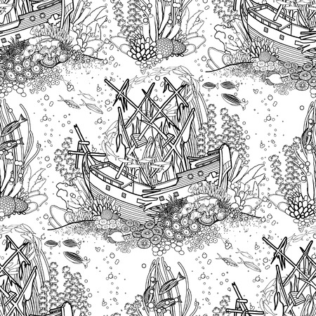 sunken: Ancient sunken ship and coral reef drawn in line art style. Ocean seamless pattern in black and white colors. Coloring book page design.