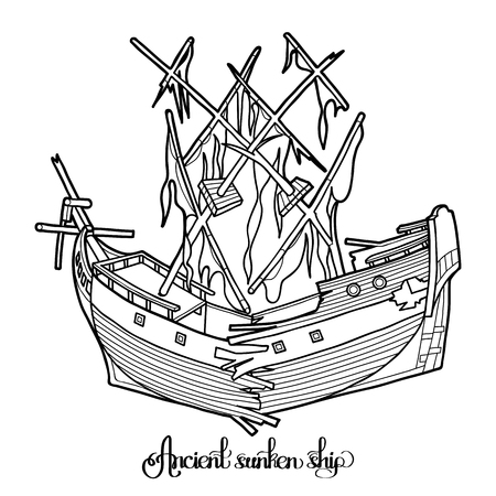 Ancient sunken ship. Graphic vector illustration isolated on white background. Coloring book page design