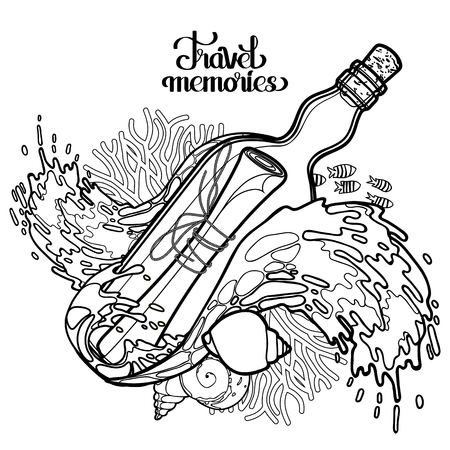 message: Message in the bottle among the storm waves.  Travel memories collection. Vector marine design isolated on white background. Coloring book page design Illustration